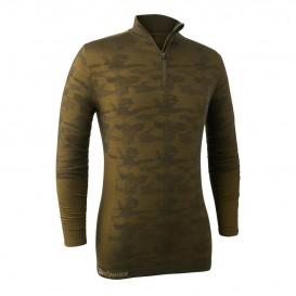 DEERHUNTER Camou Wool Zip Neck Undershirt - merino nátelník