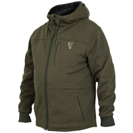 FOX Collection Green/Silver Sherpa Hoodie - zateplená mikina