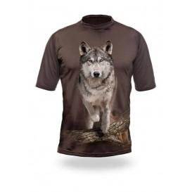 HILLMAN Wolf Runs 3D T-Shirt Oak - tričko